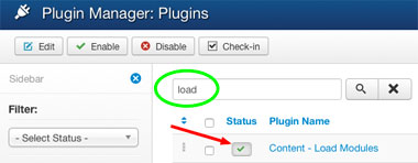 Loadposition plugin abilitato
