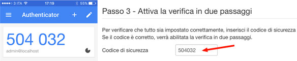 attivazione google authenticator