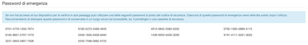 password di emergenza